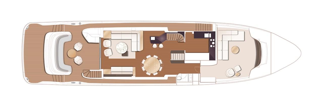 X95 Main Deck With Optional Main Deck Dining Table, Cinema And Saloon Bar
