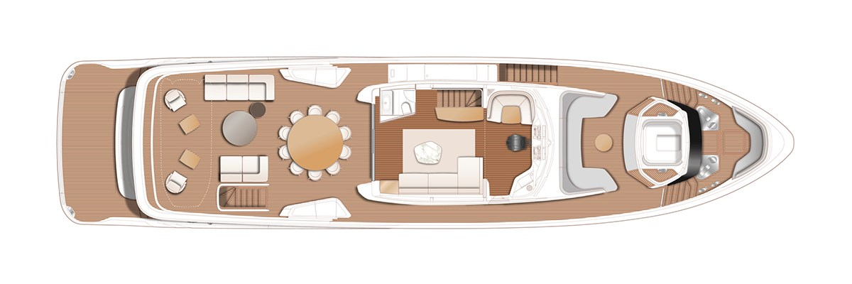 X95 Flybridge With Optional Spa Bath, Day Head, Storage And Seating At Aft Deck