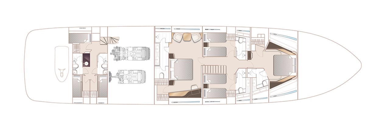 X95 Lower Deck With Optional Master Breakfast Area And 3 Cabin 2 Head Crew Accommodation