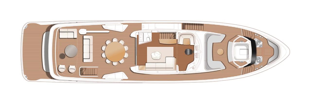 X95 Flybridge With Optional Spa Bath, Dayhead, Gulf A C, Crane, Storage And Seating At Aft Deck