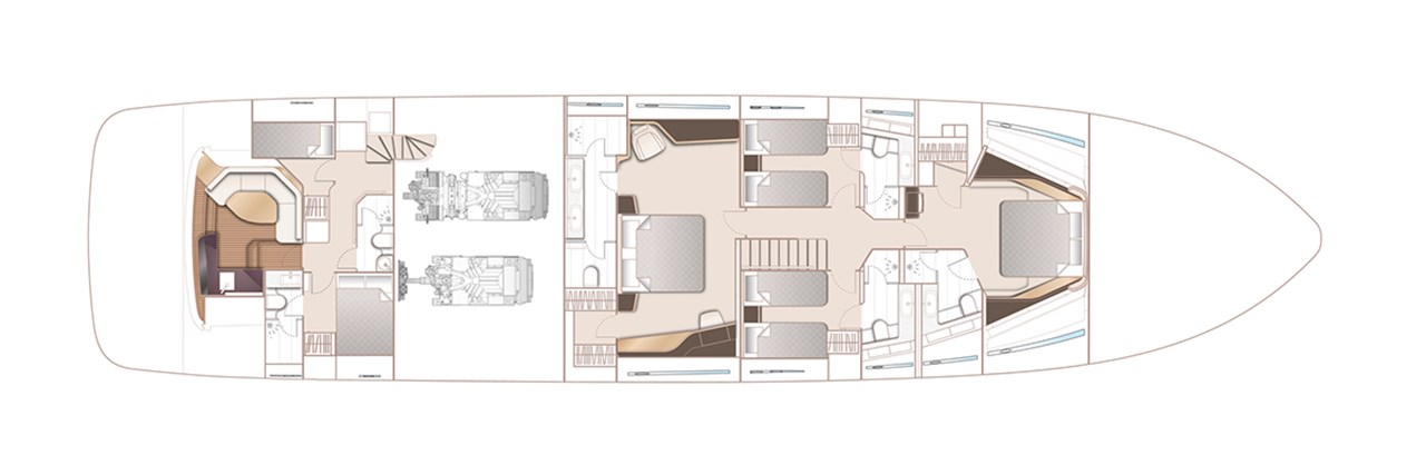 X95 Lower Deck With Optional Master Sideboard, Beach Club And Crew Accommodation
