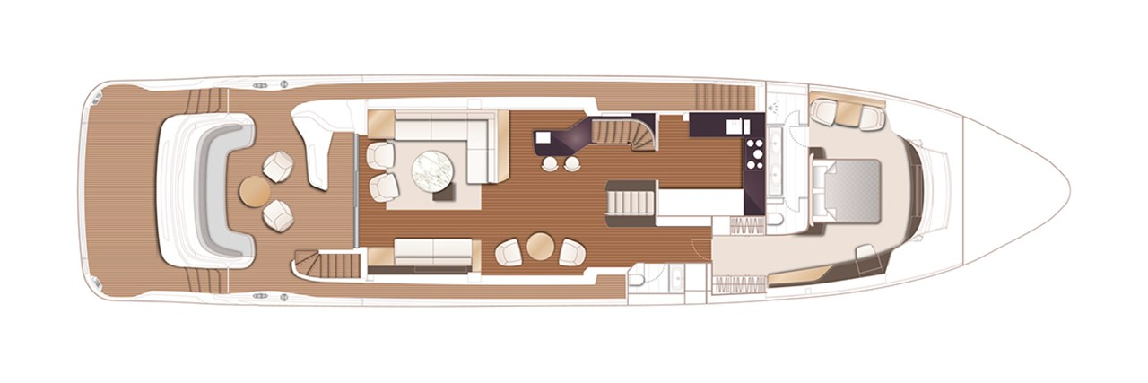 X95 Main Deck With Optional Master Stateroom With Breakfast Area, Saloon Bar, Cockpit Coffee Table And Chairs
